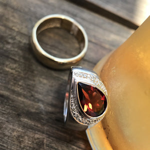 Pear Cut Garnet, Diamond and White Gold Ring
