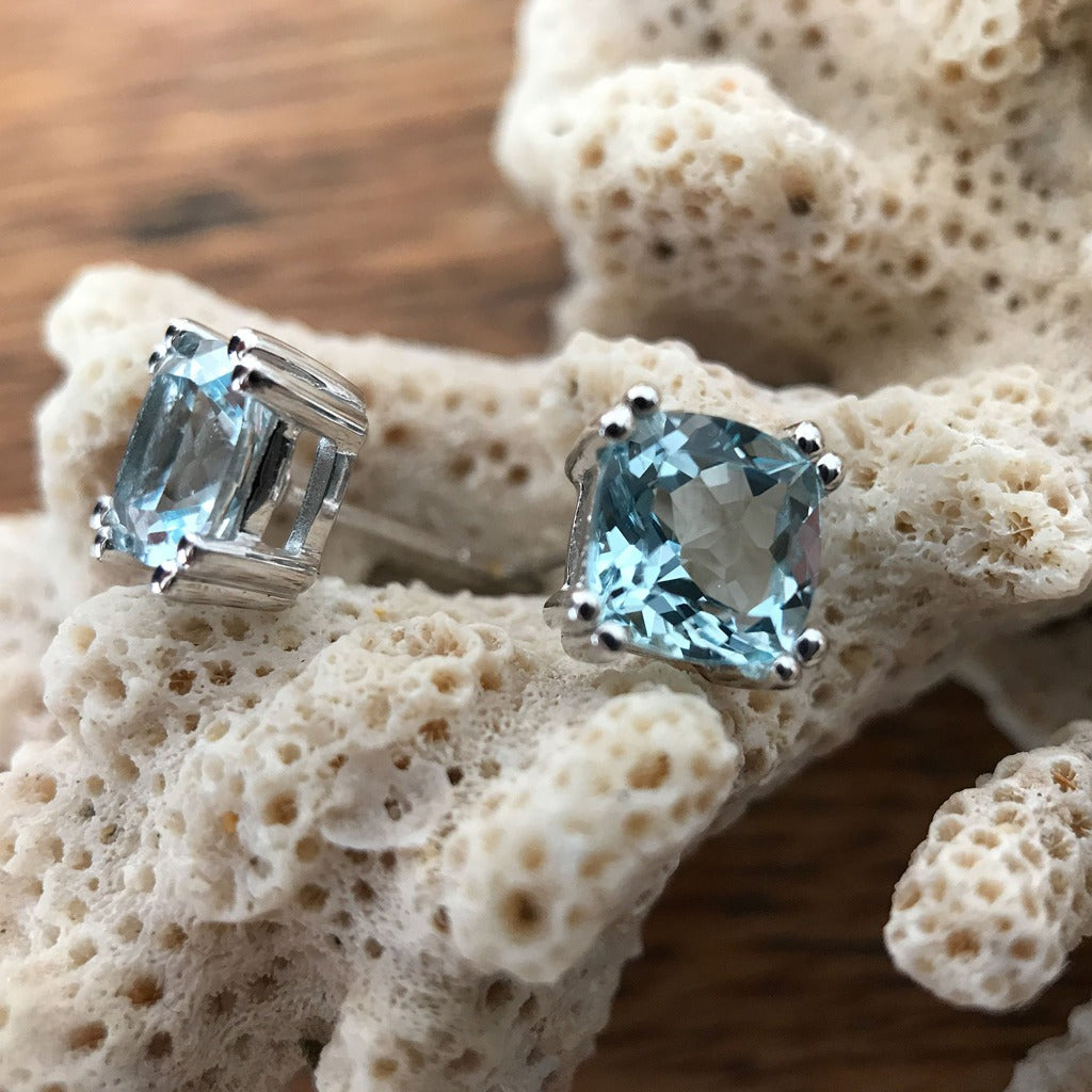Cushion Cut Aquamarine Studs