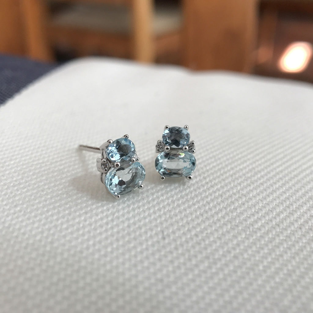 Oval Aquamarine and Diamond earrings