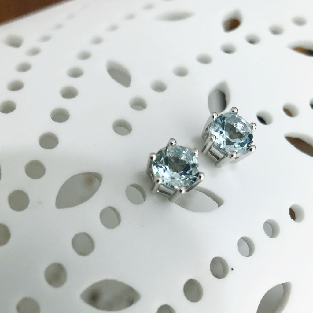 Aquamarine and White Gold Studs