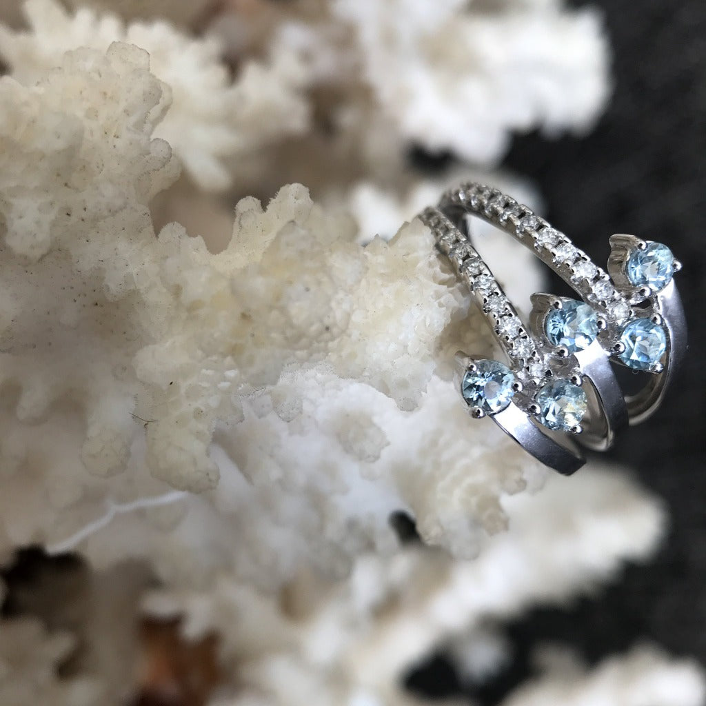 Aquamarine, Diamond and White Gold Multiband Ring
