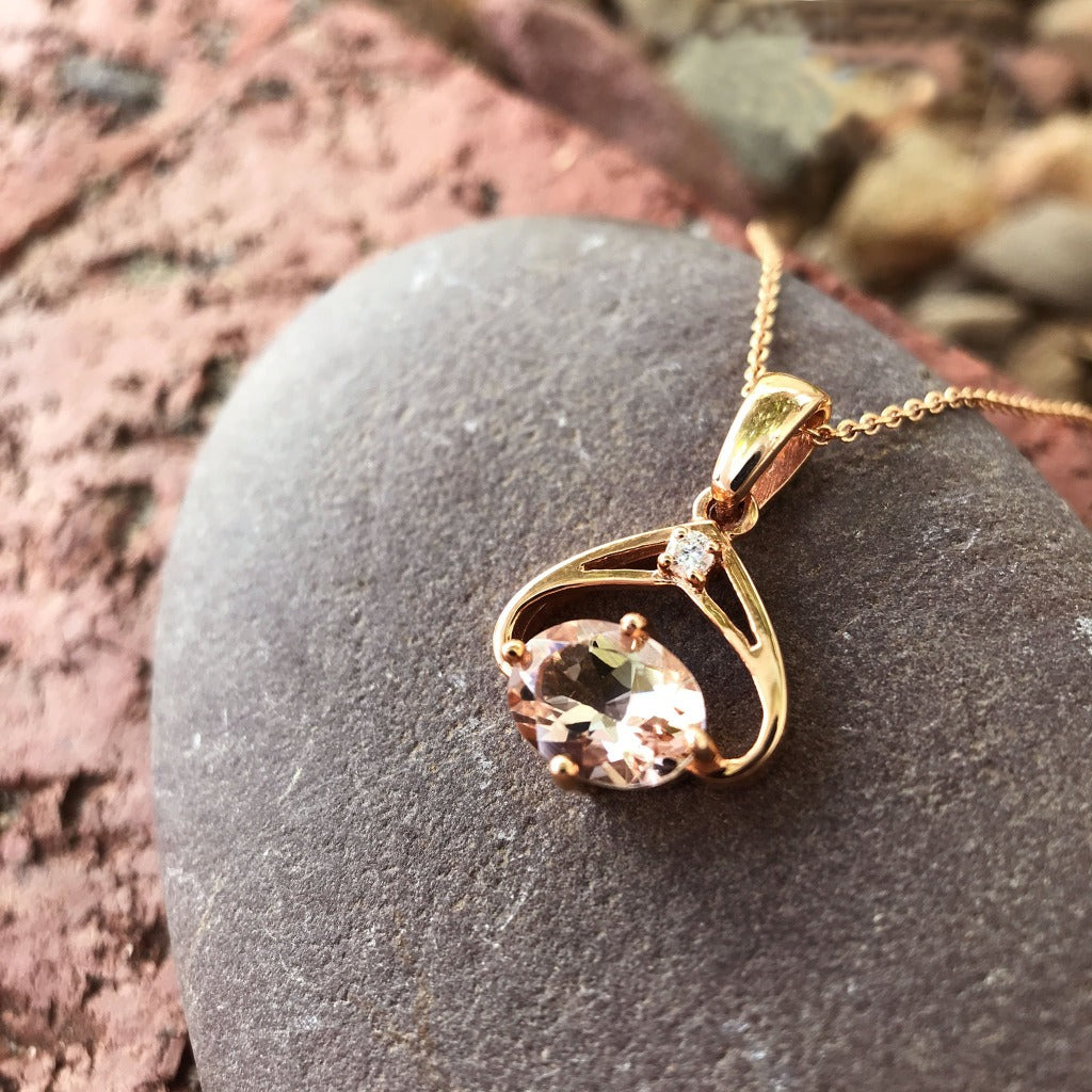 Oval Cut Morganite and Diamond Rose Gold Pendant and Chain