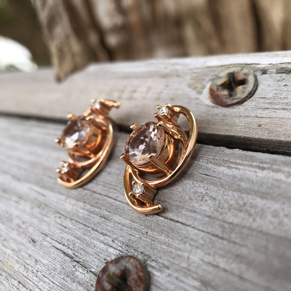 Handcrafted Morganite and Diamond Earrings