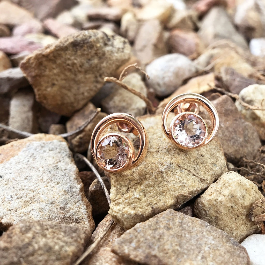 Round Cut Morganite and Rose Gold Earrings