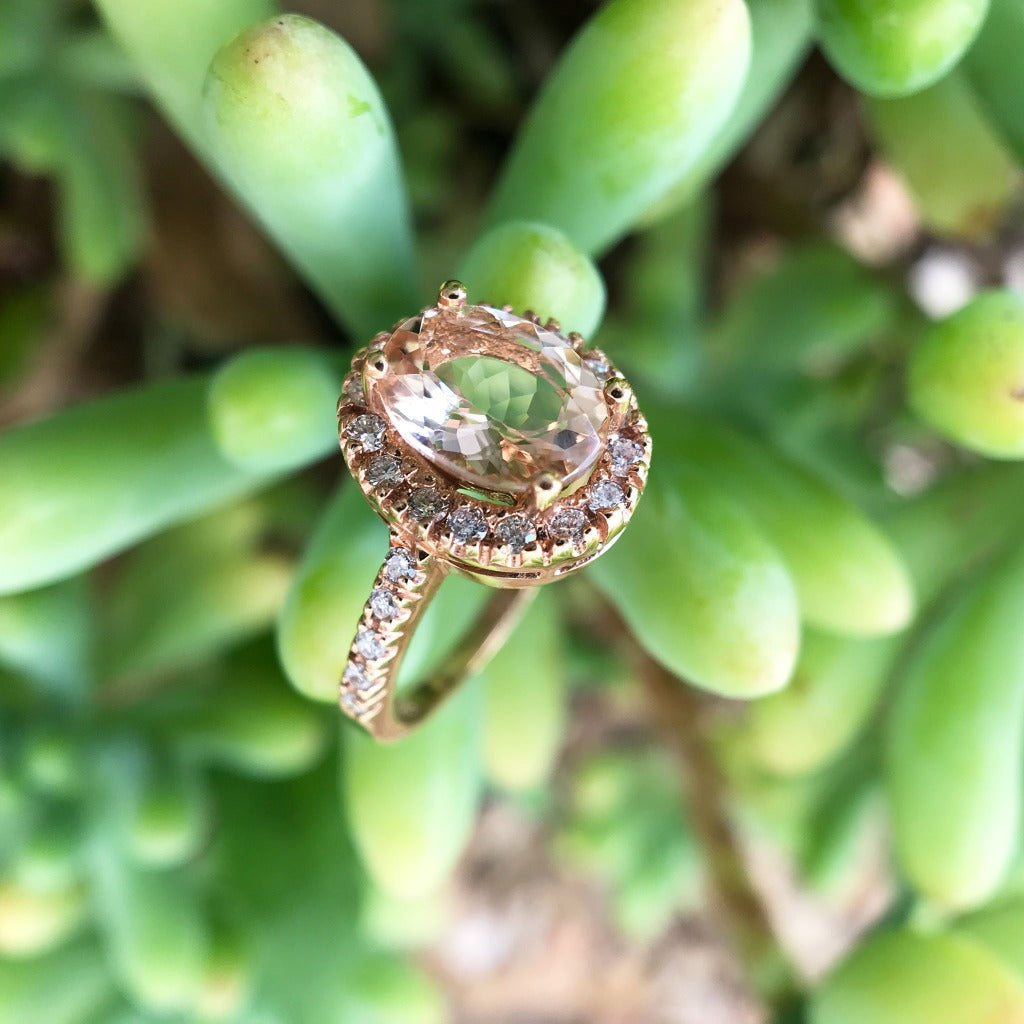 Oval Cut Morganite & Diamond Halo Ring