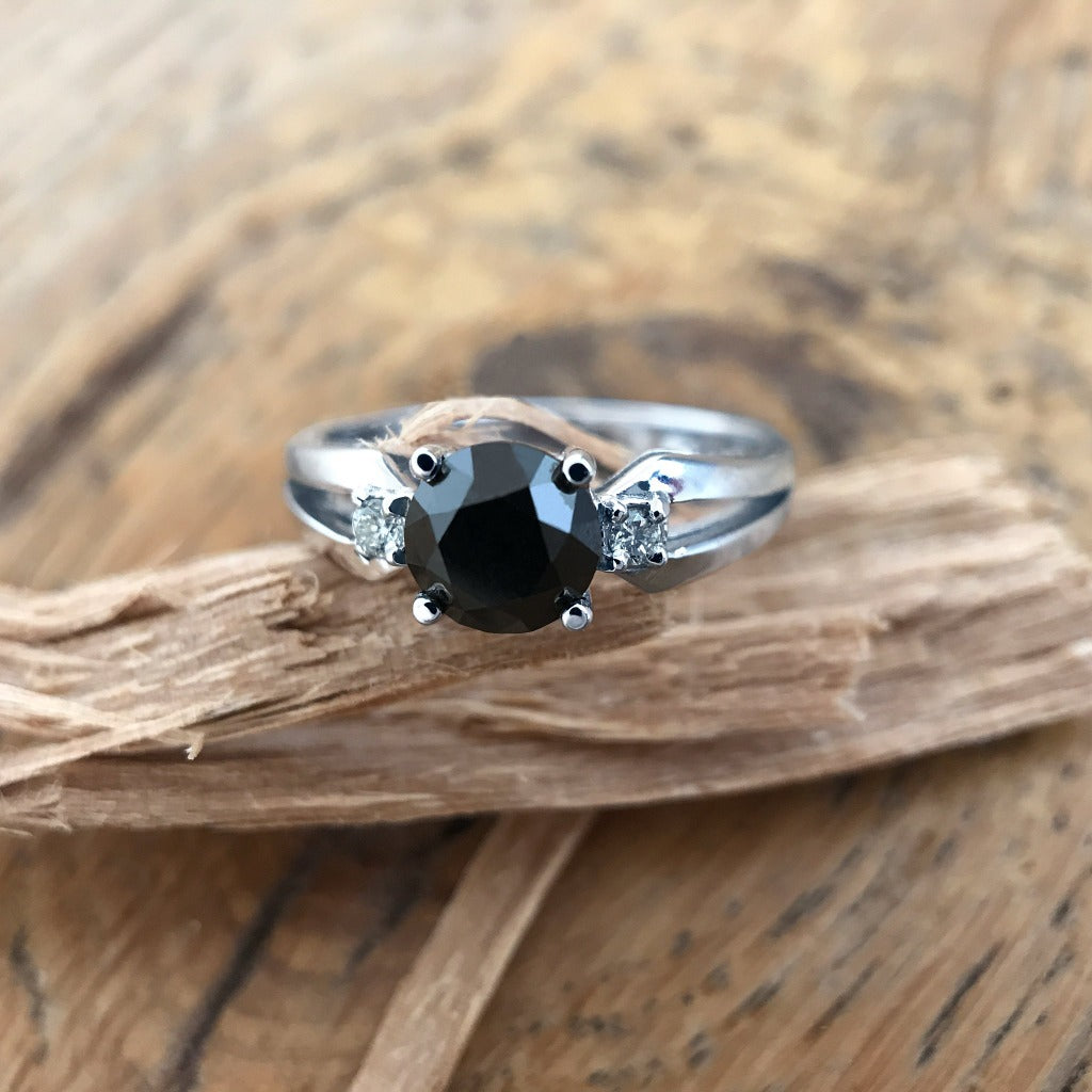 Black Diamond and White Gold Ring