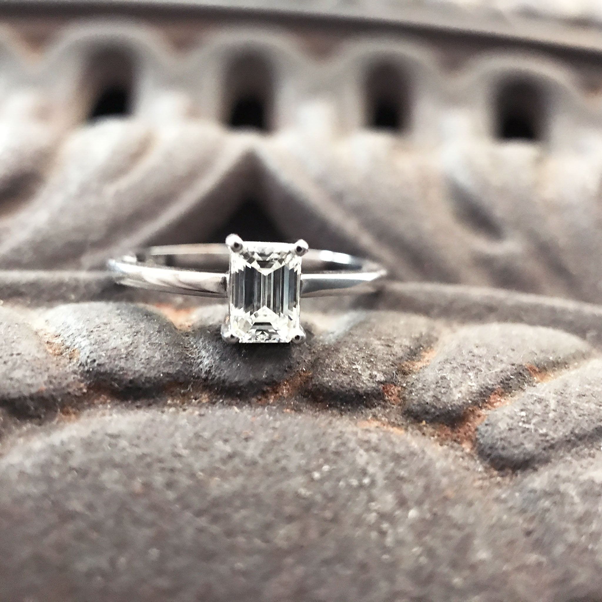 Handcrafted Emerald Cut Diamond Ring