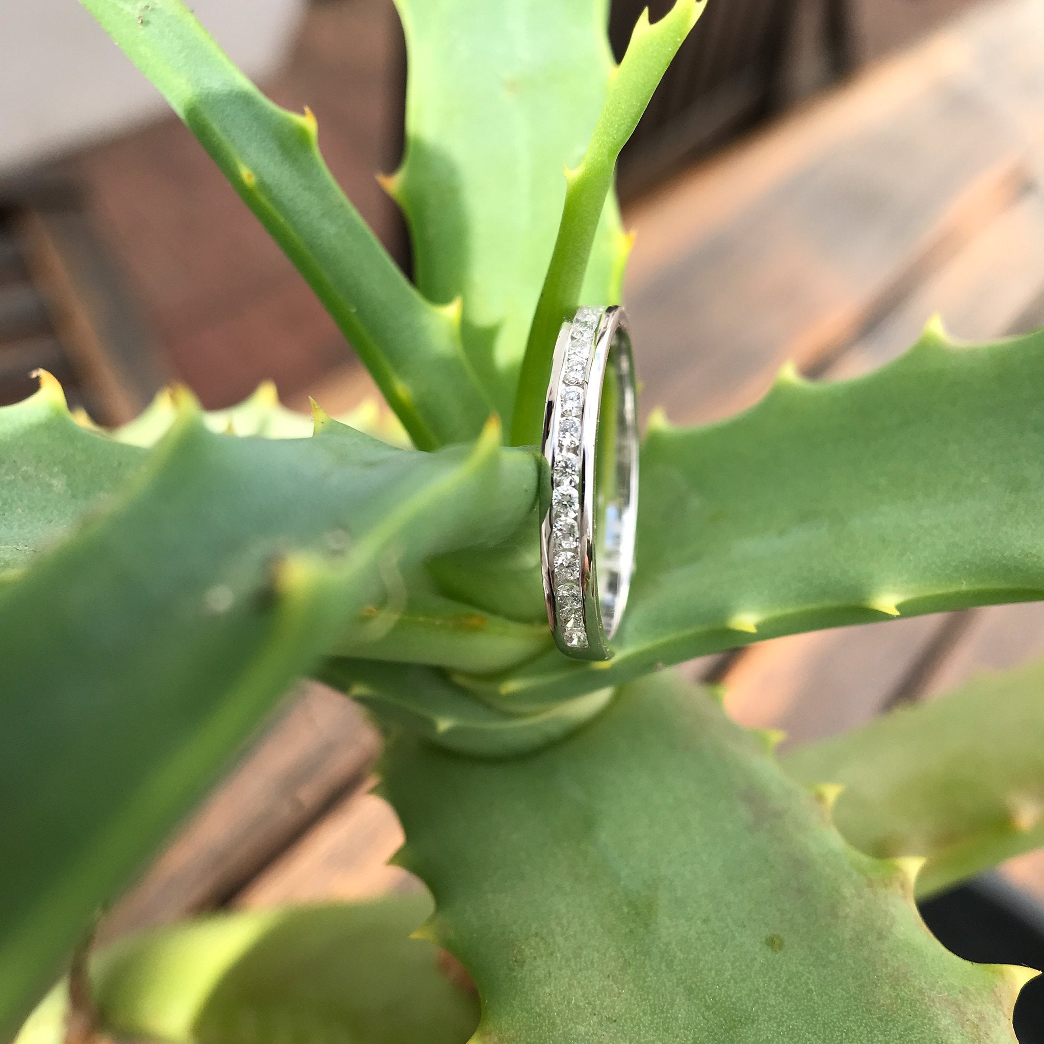 Channel Set Diamond and White Gold Eternity Ring