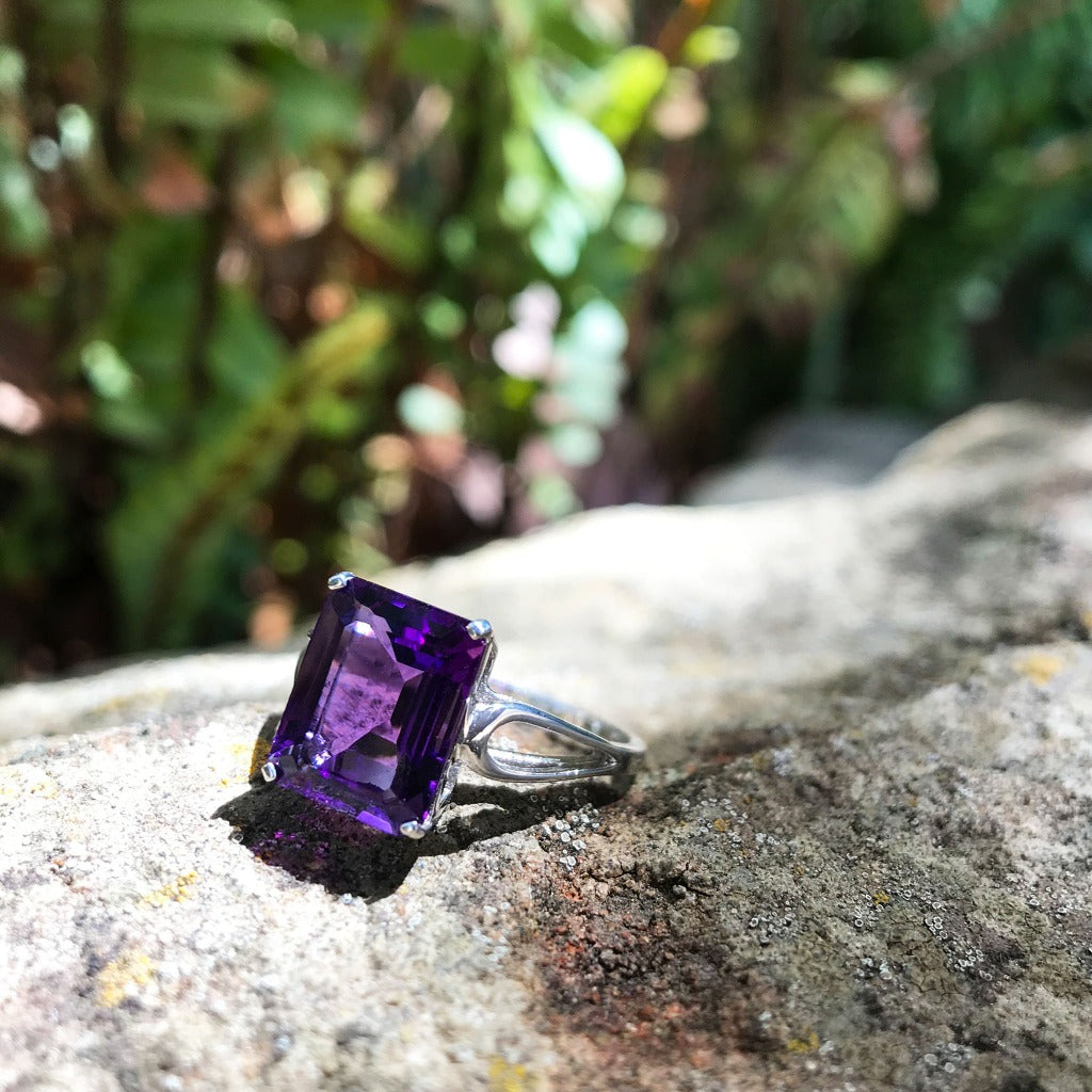 Split Shank Emerald Cut Amethyst Ring