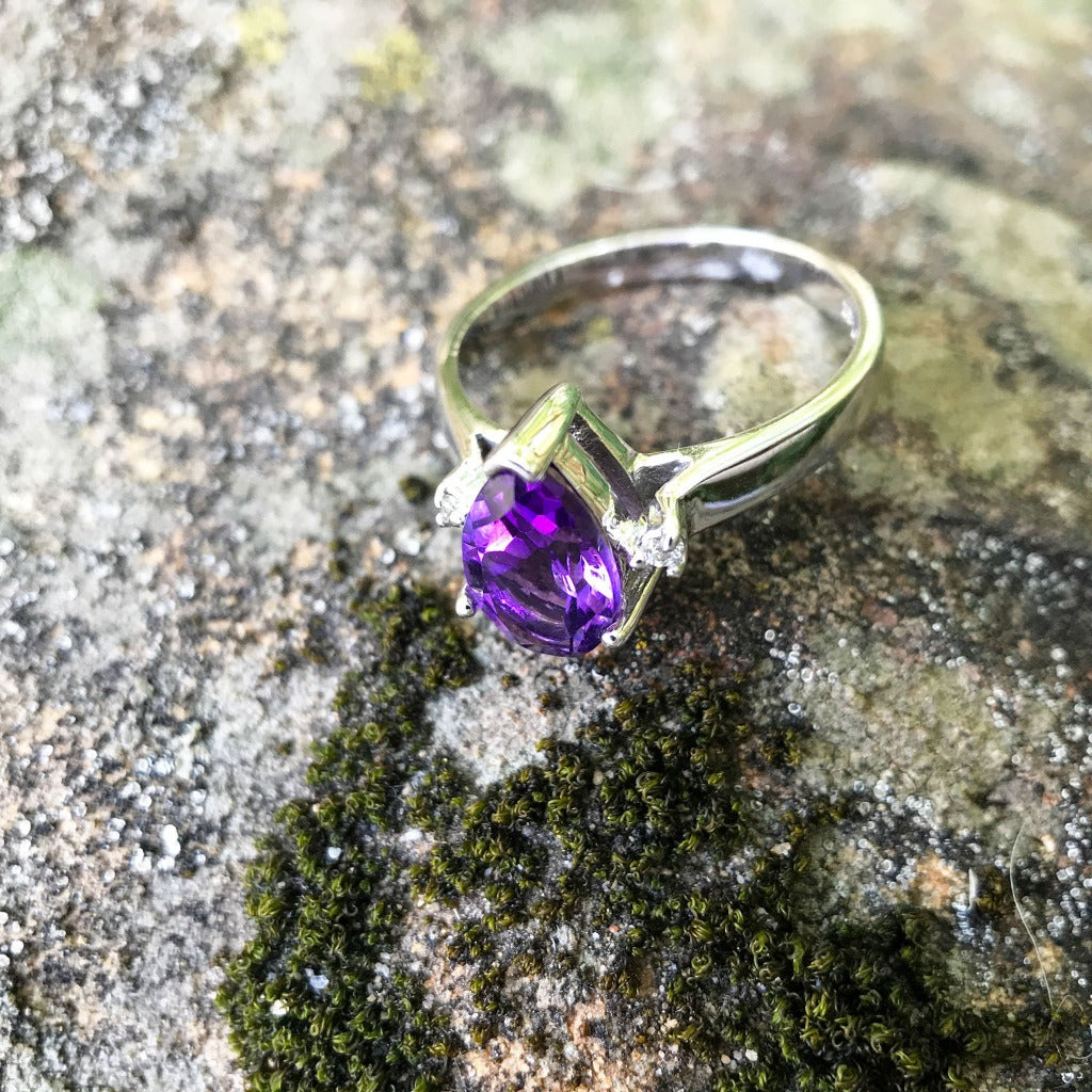 Pear Cut Amethyst Ring with Diamond Accents