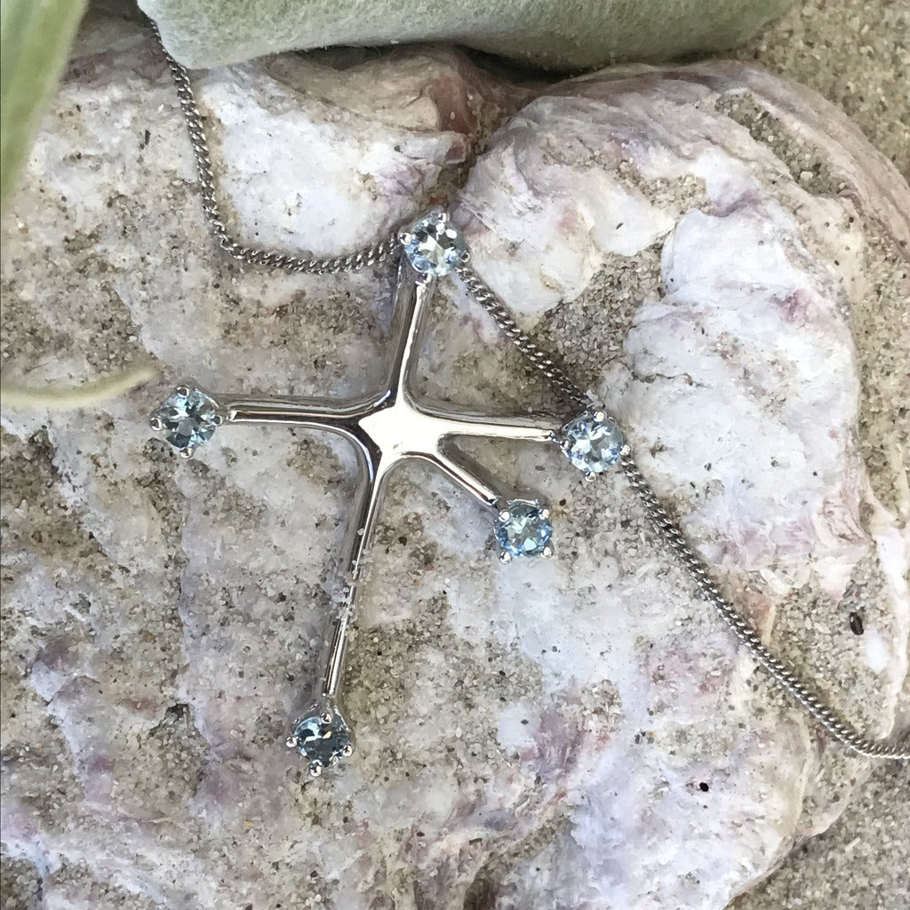 Blue Topaz and White Gold Southern Cross Pendant