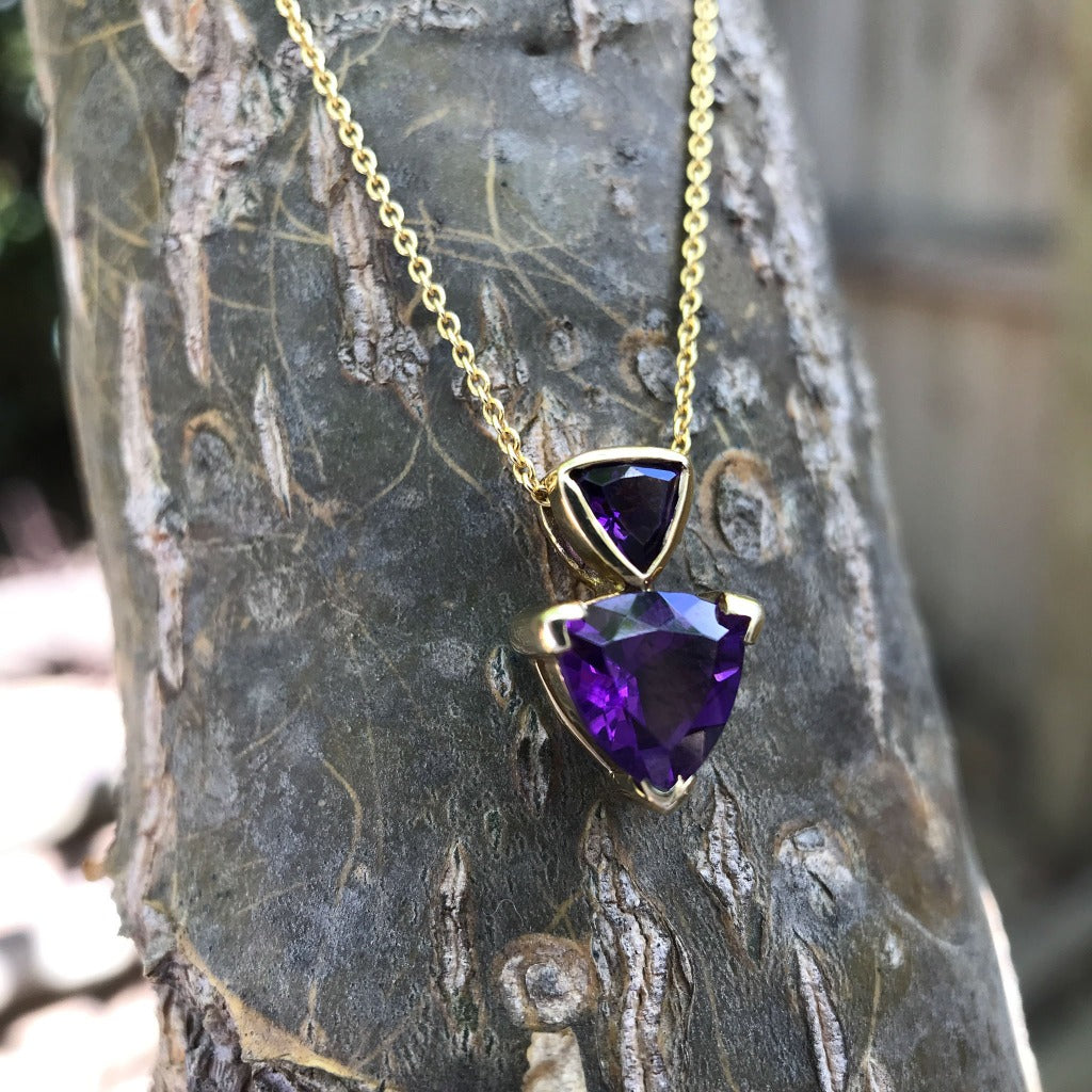 Double Trilliant Cut Amethyst pendant and Chain