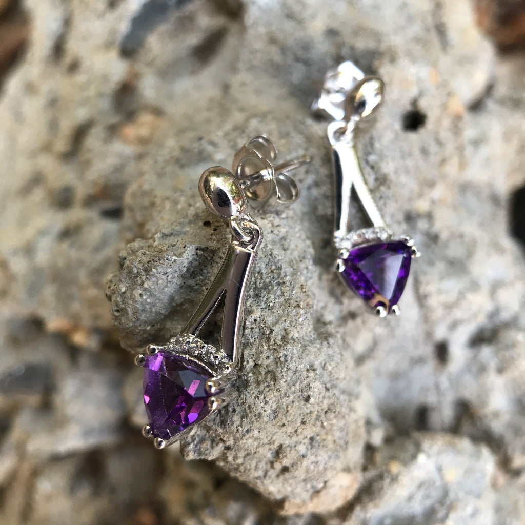 Trilliant Cut Amethyst and White Gold Drop Earrings with Diamond Accents