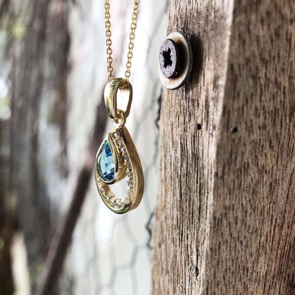 Sparkling Water Droplet Topaz and Diamond Pendant