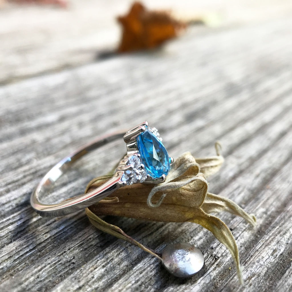 Pear-Cut Topaz Ring with Diamond Trilogy Accents