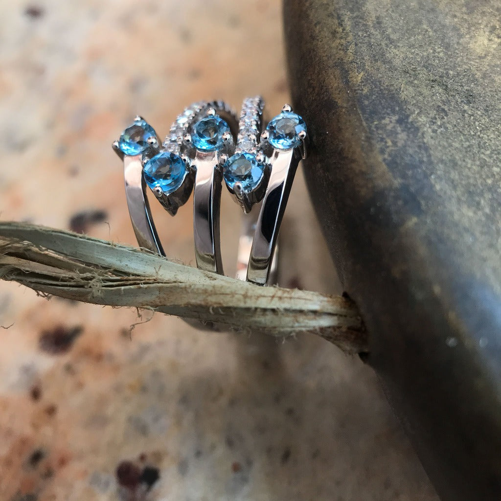 Multiband Topaz, Diamond and White Gold Ring