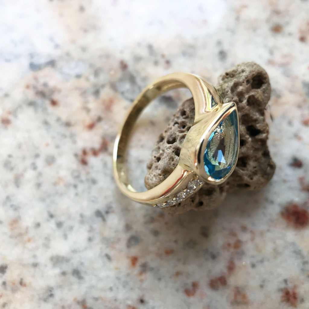 Pear Cut Topaz with Diamond Pavé Band Accent Ring