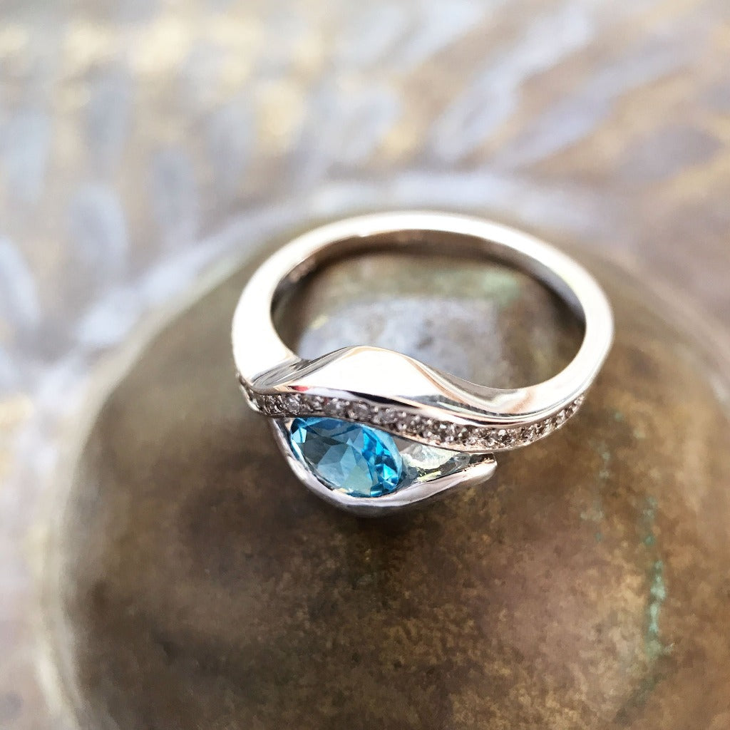 Round Cut Topaz and Pavé Diamond Ring
