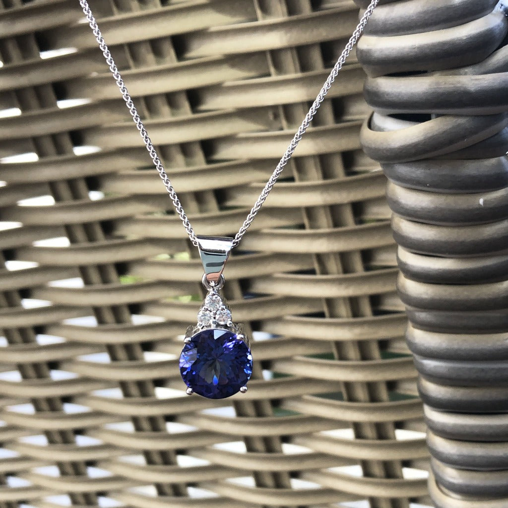 Handcrafted Tanzanite with Trilogy Diamond Accent Pendant