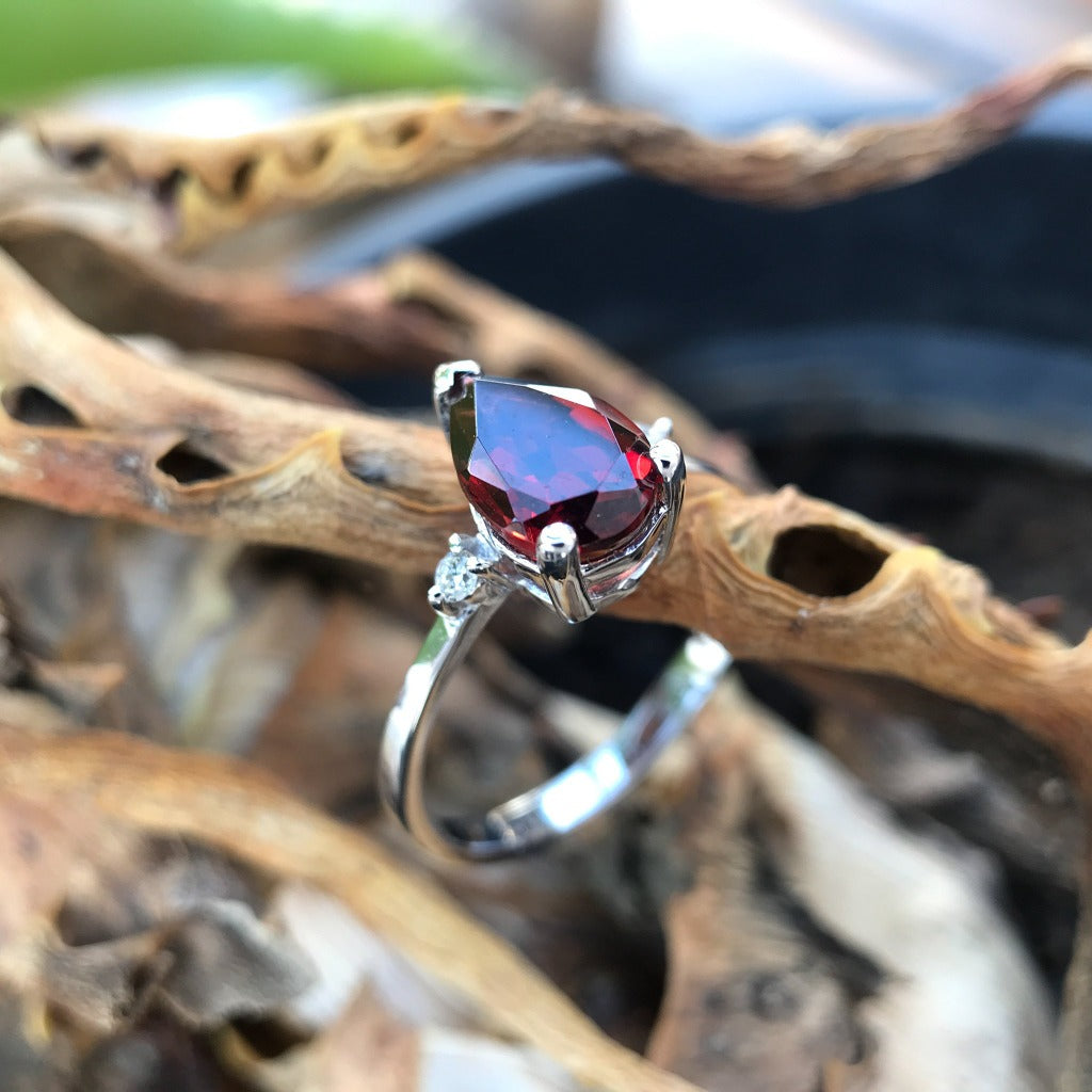 Pear Cut Garnet and Diamond Ring