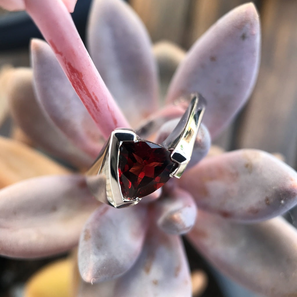 Trilliant Cut Garnet ring