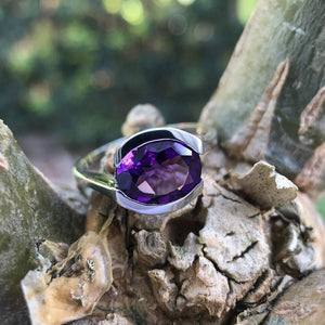 Horizontally Set Oval Cut Amethyst and White Gold Ring