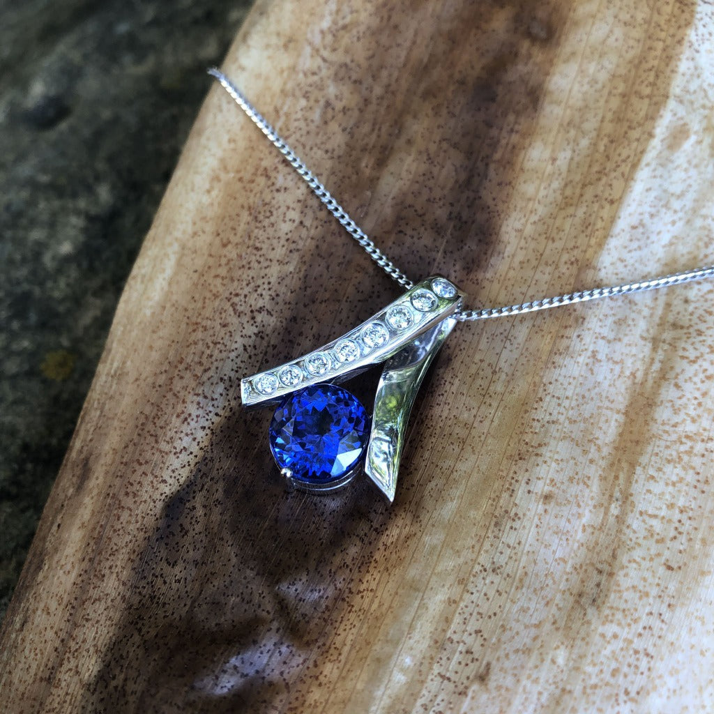 Handcrafted Tanzanite with Diamond Ribbon Pendant