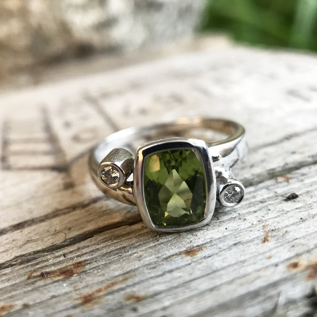 Cushion Cut Peridot Ring with Tube Set Diamond Accents