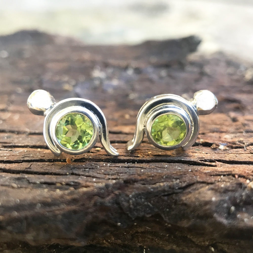 Peridot Studs With White Gold Bead and Curve Detailing
