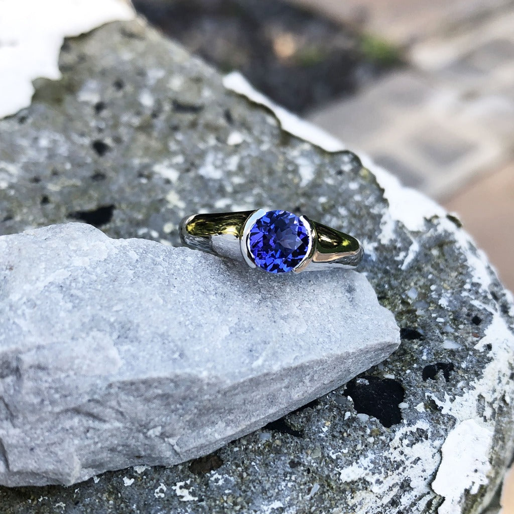 Contemporary Tanzanite Solitaire Ring in a Half Tube Setting