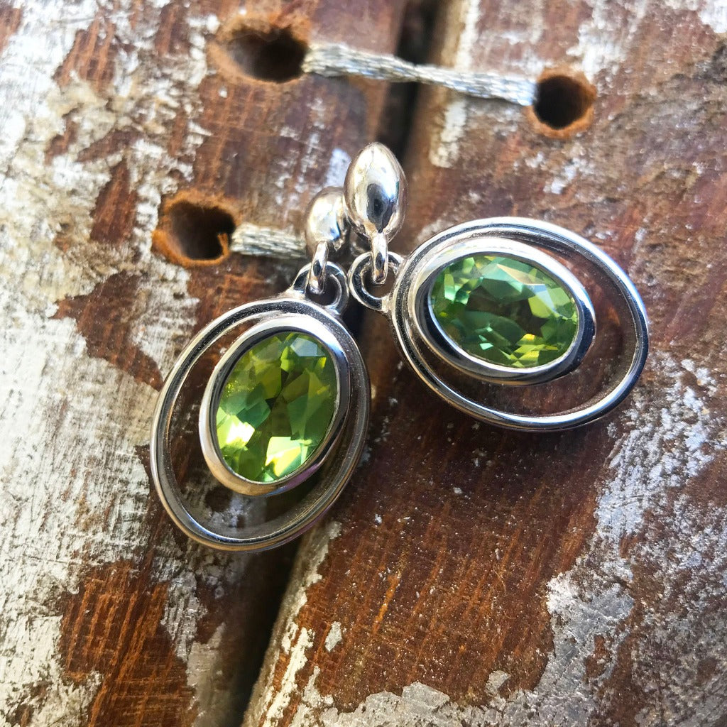 Oval Cut Peridot Circular Detail Drop Earrings