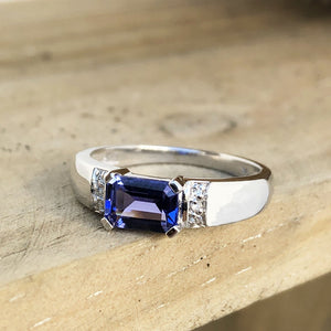 Octagonally Cut Tanzanite with Diamond Accent Ring