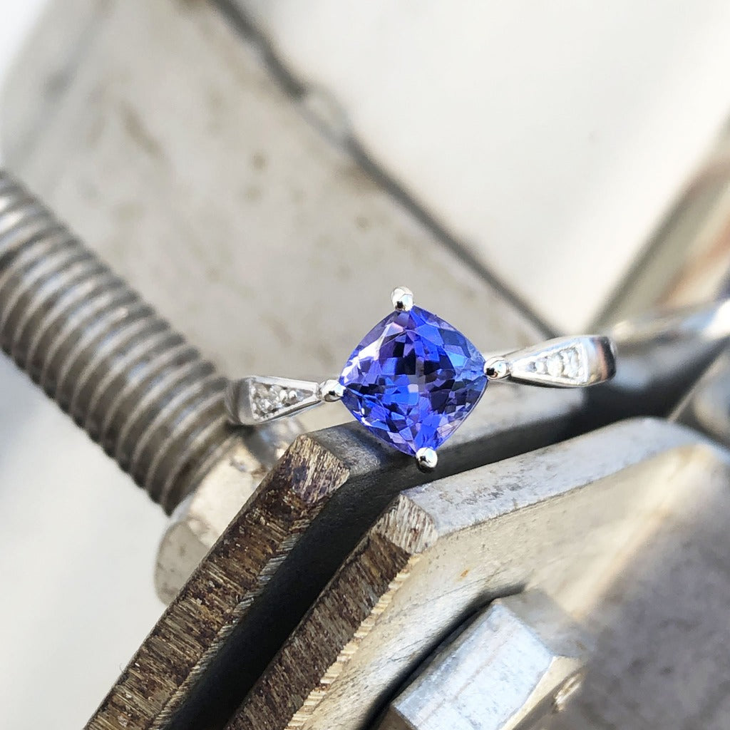 Delicate Cushion Cut Tanzanite Ring with Diamond Accents