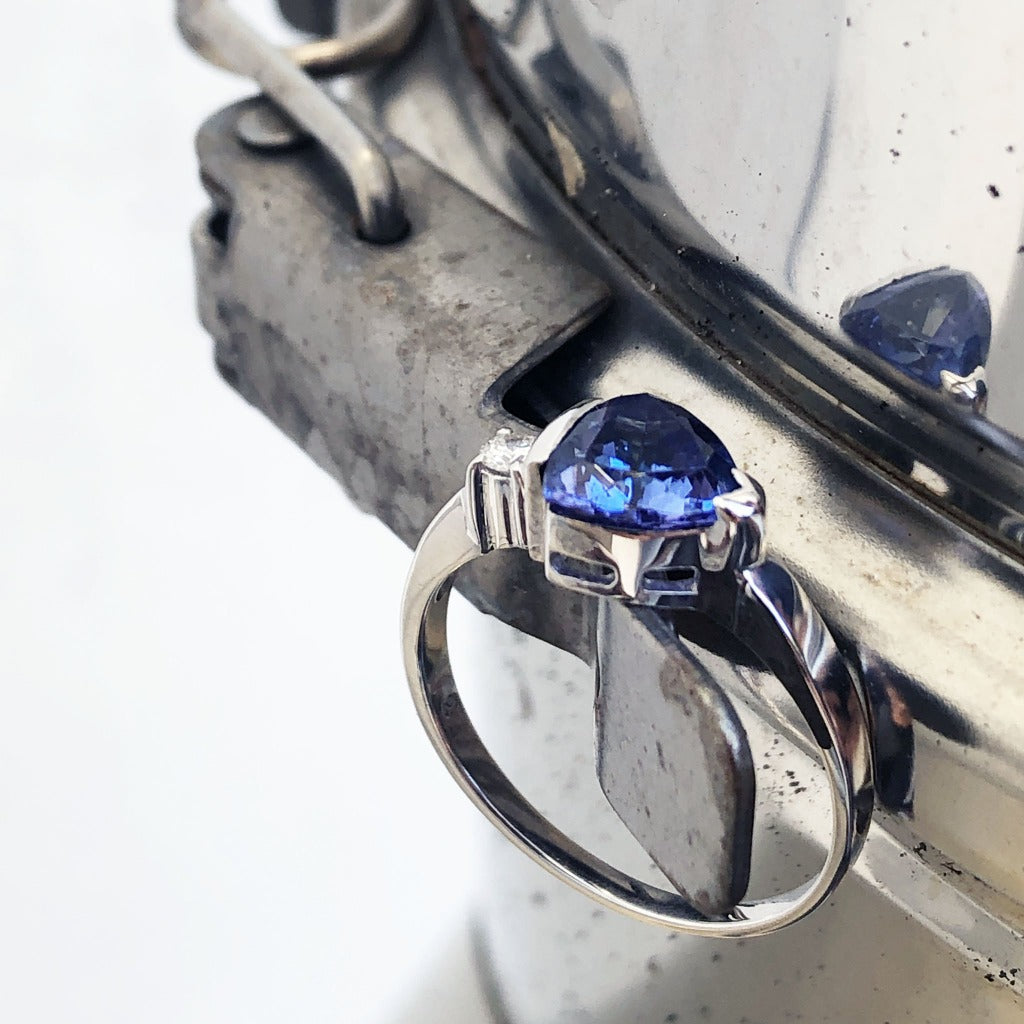 Trilliant Cut Tanzanite with Singular Diamond Accent ring