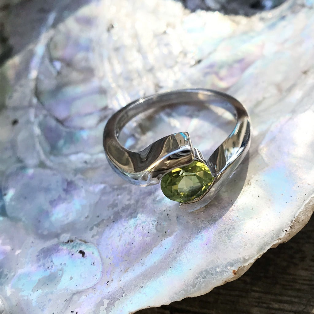 Solitaire Split Band Peridot Ring