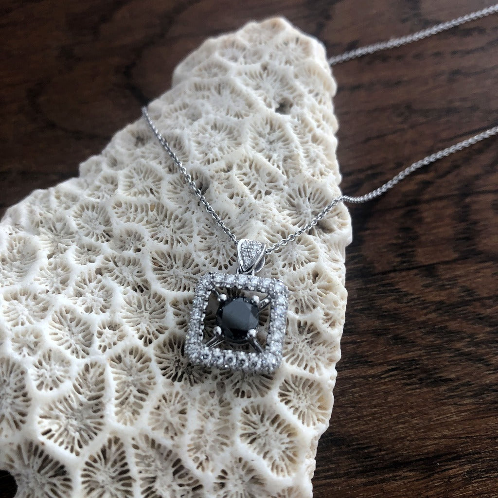 Round Cut Black Diamond Surrounded by a Square White Diamond Halo Pendant