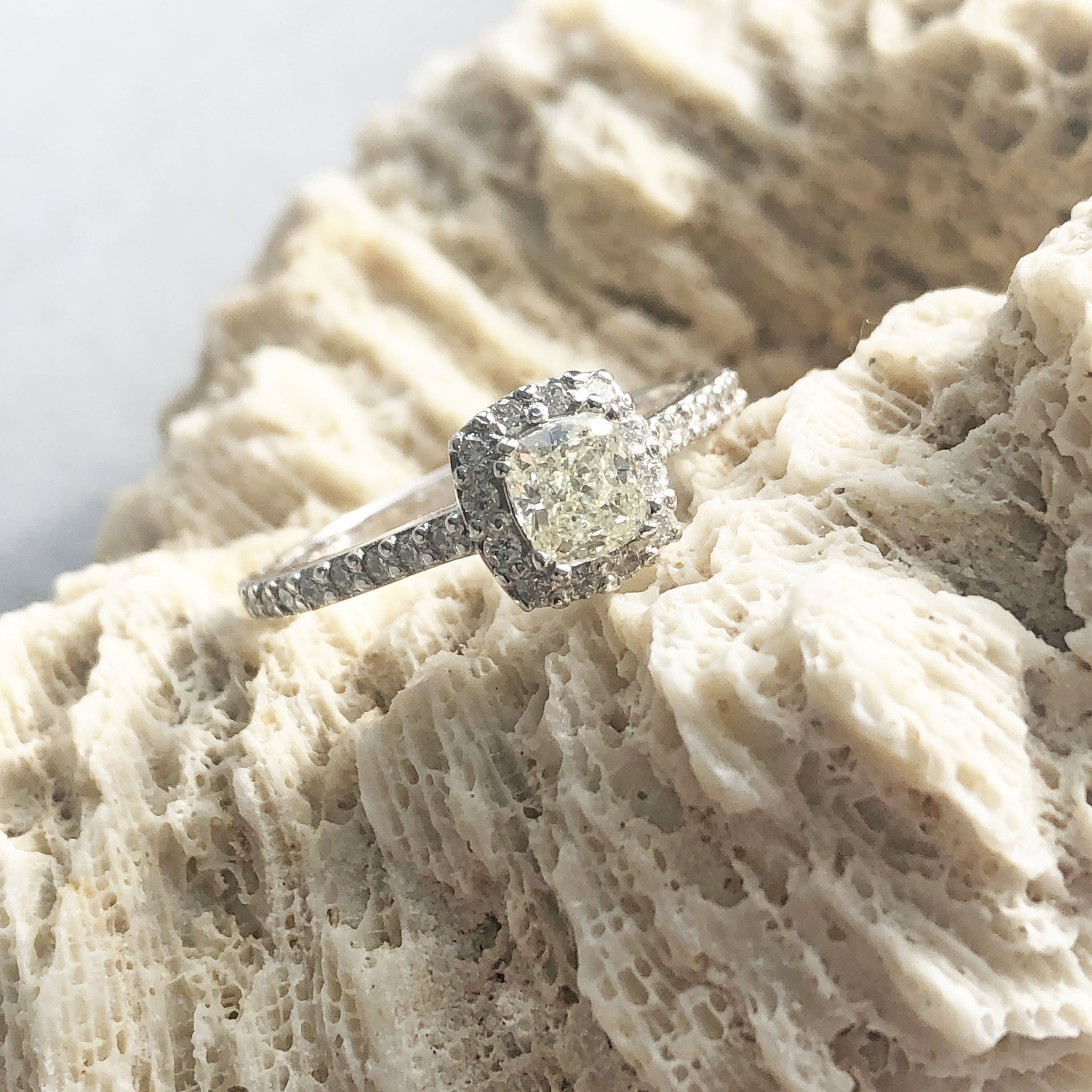 Handcrafted Faint Yellow Diamond Ring with Diamond Halo and Diamond Band