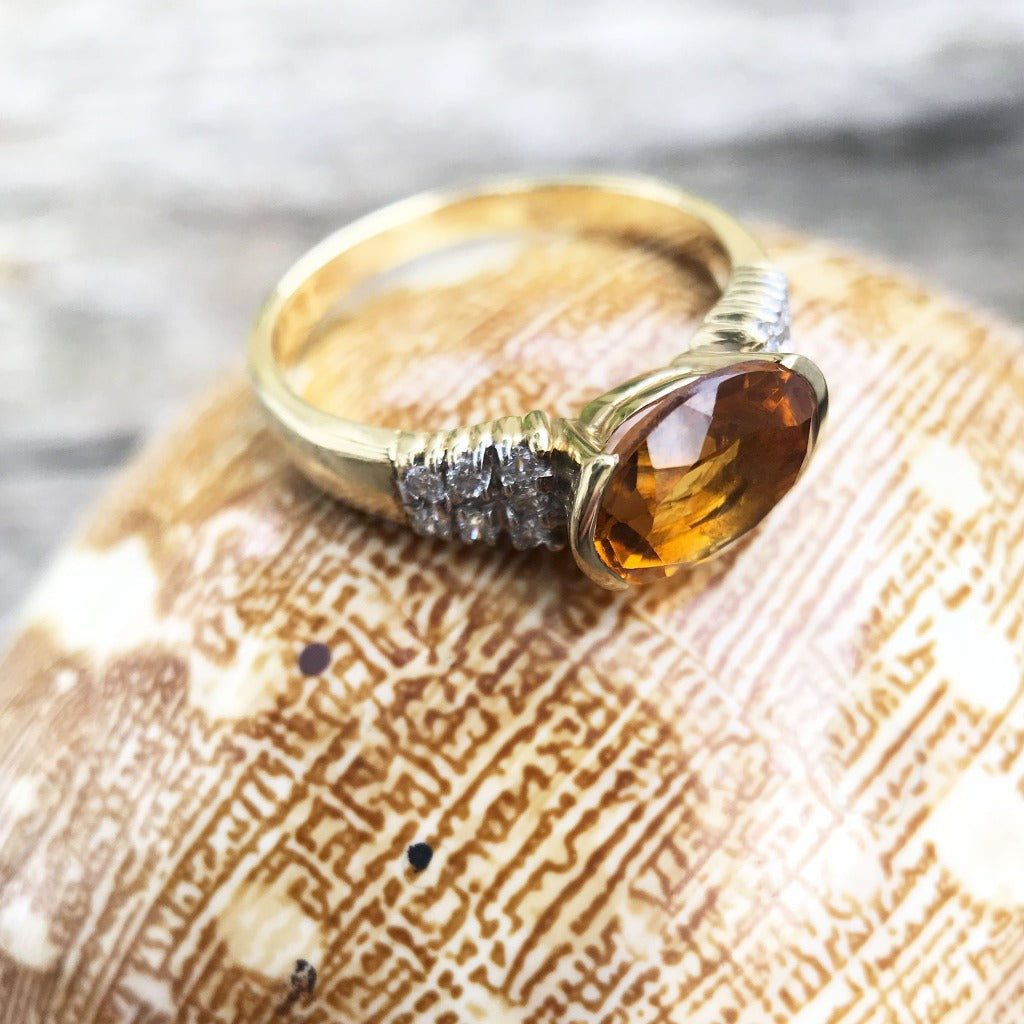 Yellow Gold Oval Cut Citrine 3 Tier Diamond Shoulder Ring