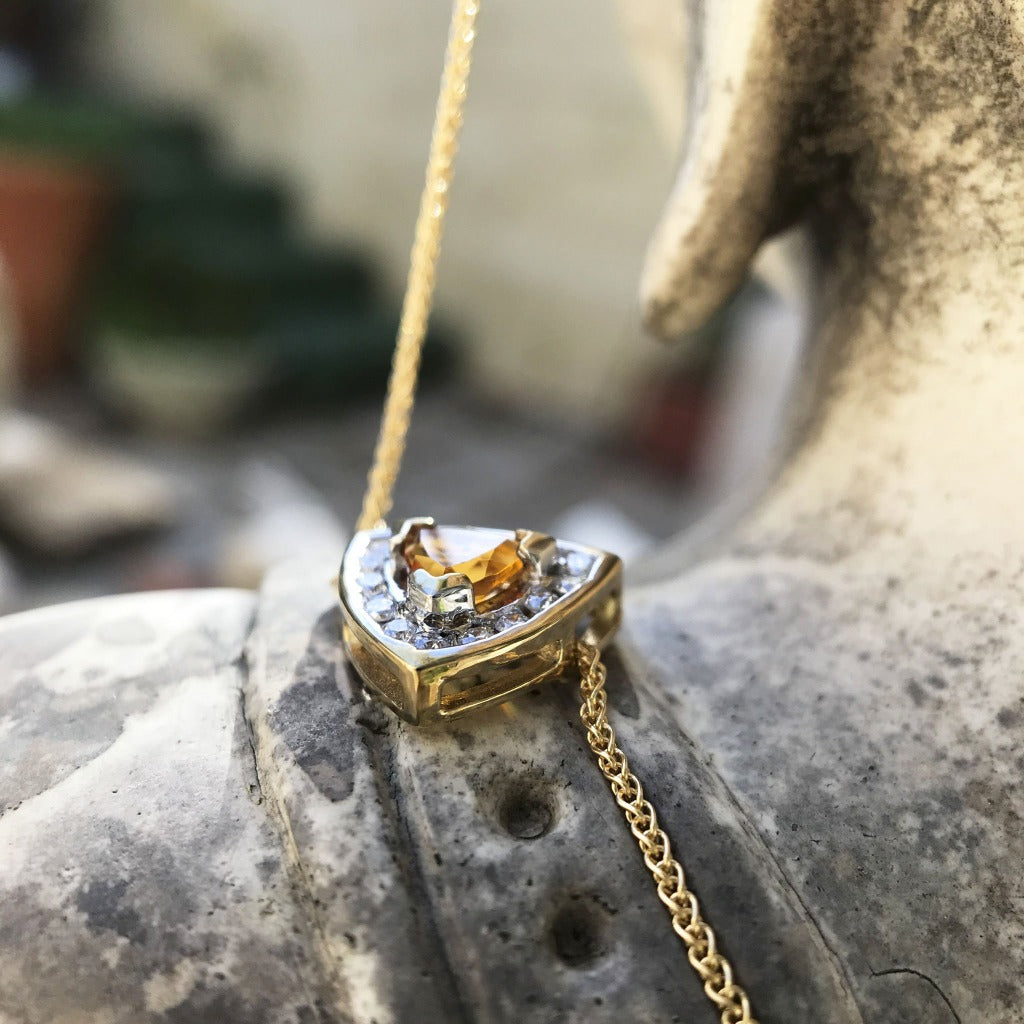 Trilliant Cut Citrine With Trilliant Diamond Halo Pendant
