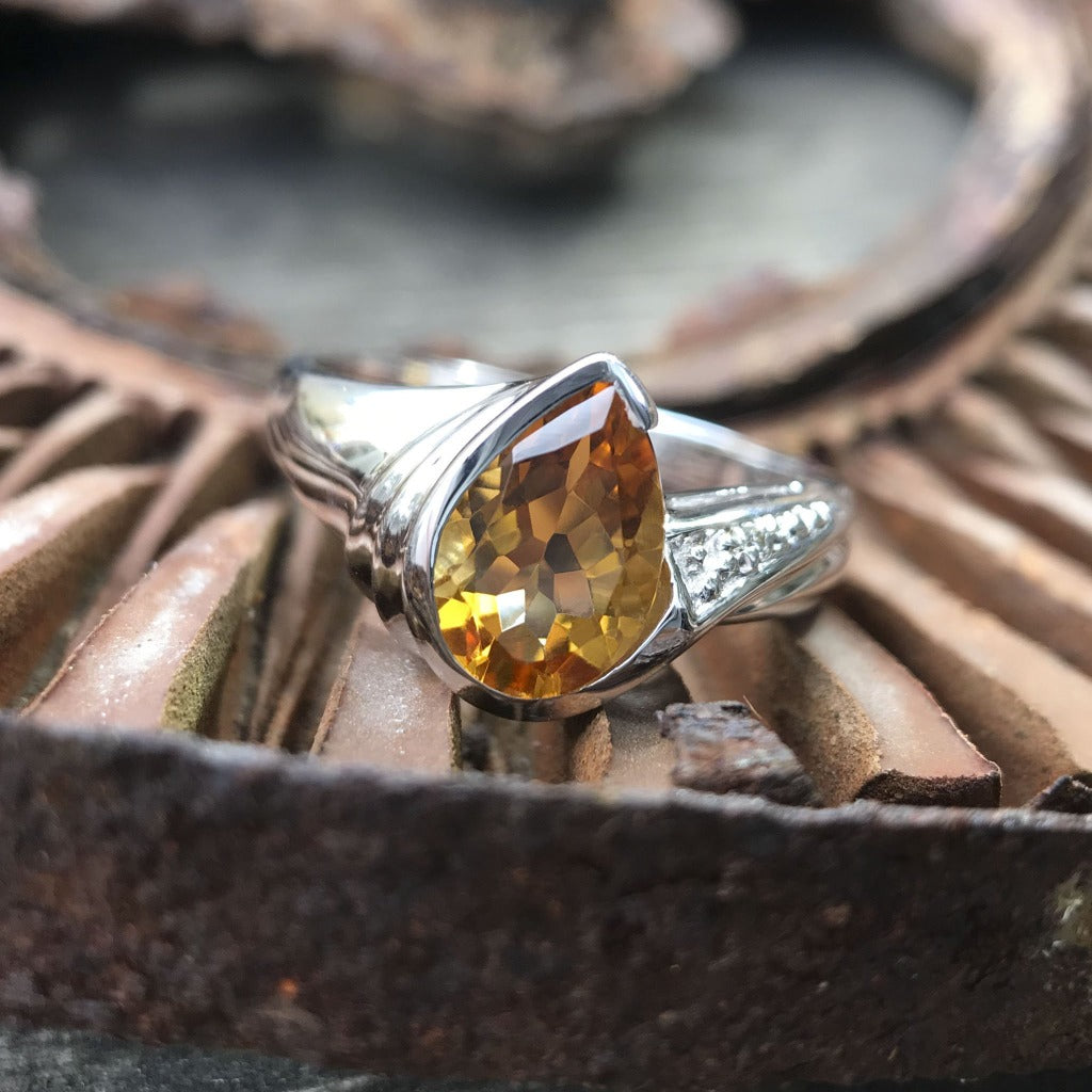 Pear Cut Citrine and Diamond White Gold Ring