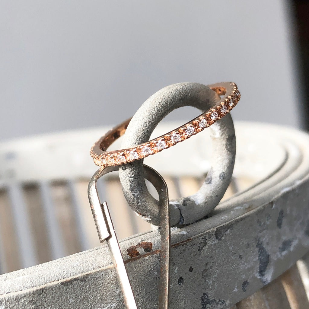 Delicate Full Eternity Rose Gold Stacking Ring