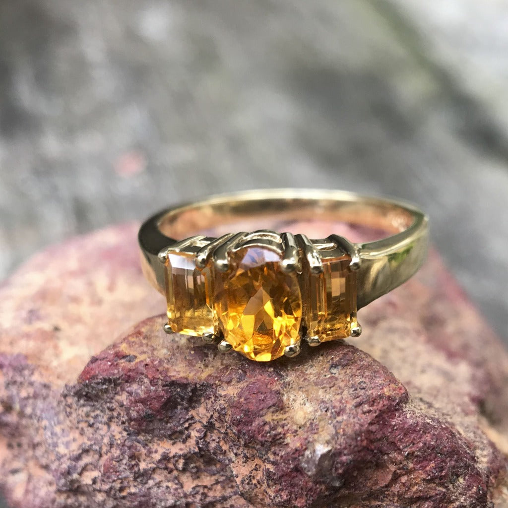 Citrine Oval and Emerald Cut Trilogy Ring