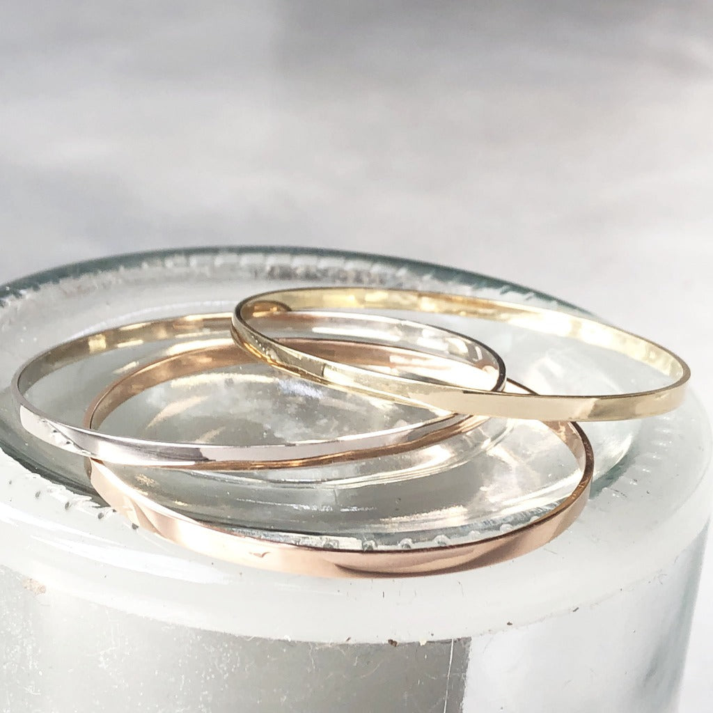 Handcrafted White Gold Bangle