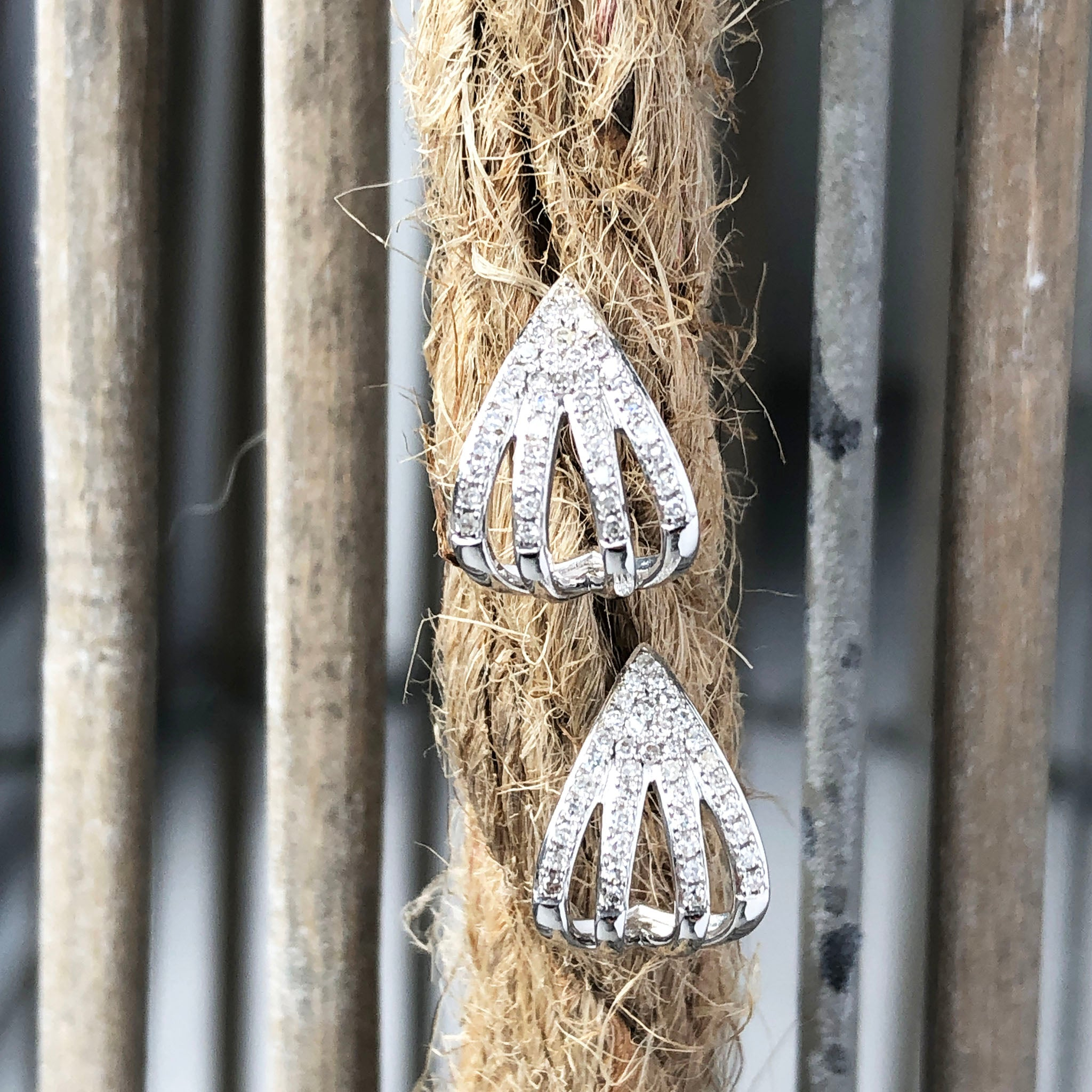 White Gold Split Leaf Diamond Earrings