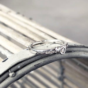 Solitaire Diamond Ring with Channel Set Diamond Shoulders