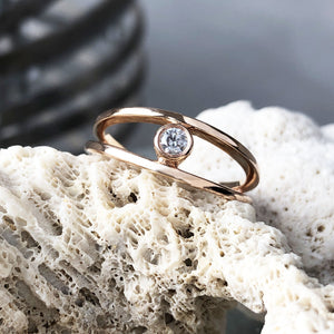 Rose Gold Spilt Band Tube Set Diamond Ring