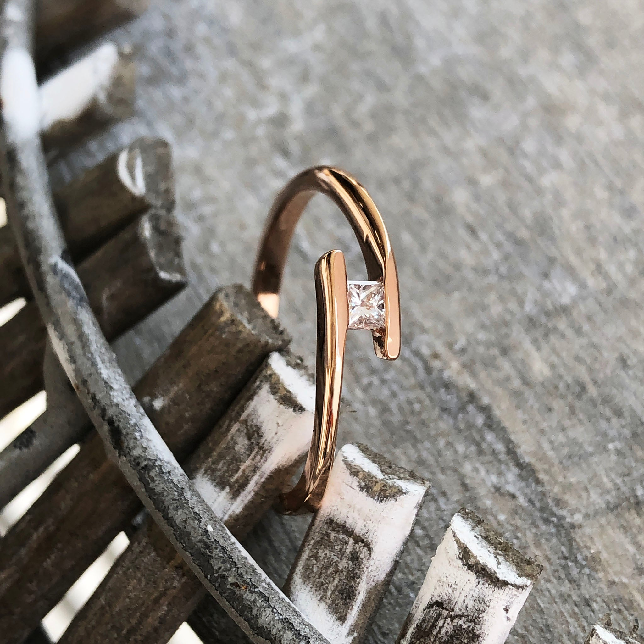 Dynamic Tension Set Princess Cut Diamond & Rose Gold Ring