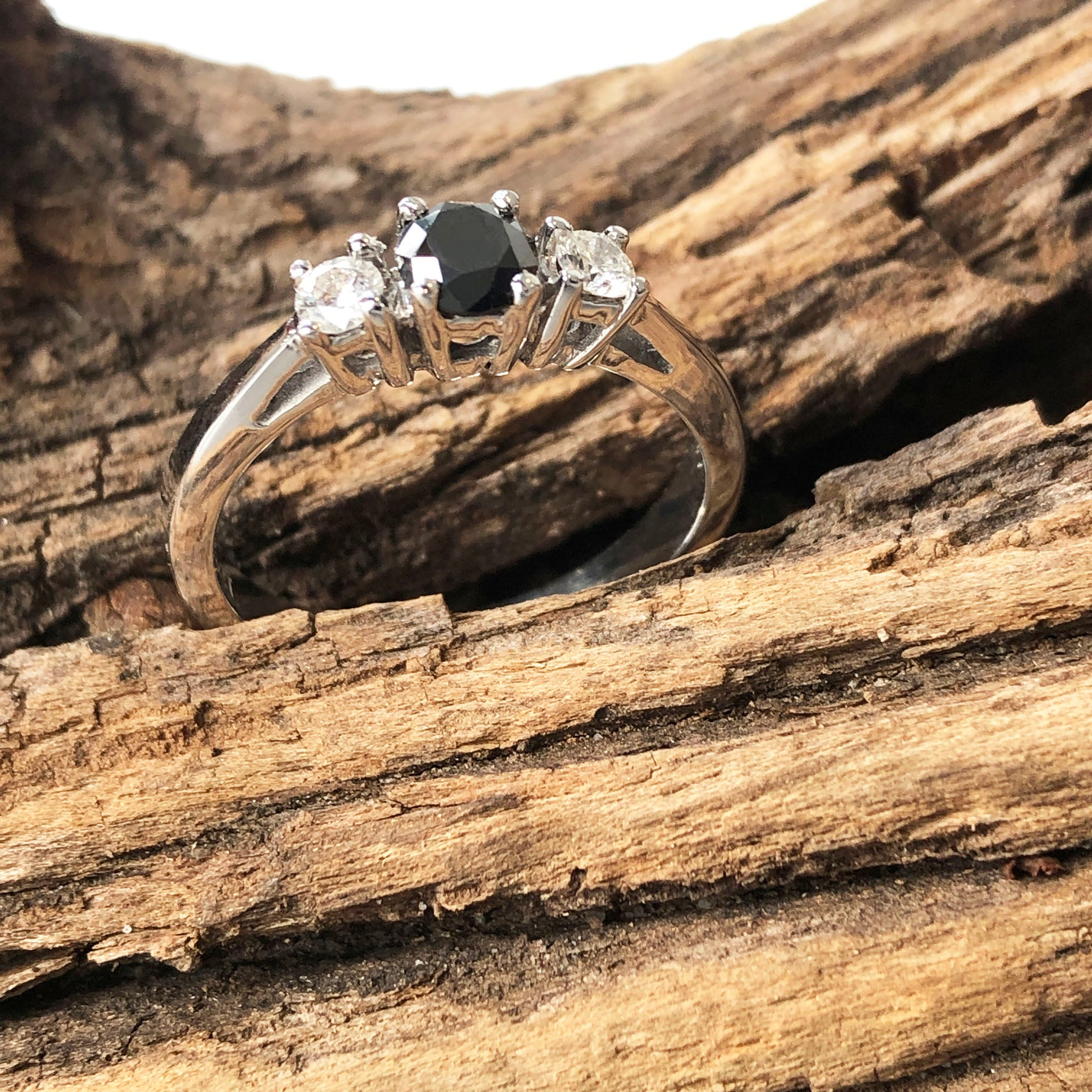 18ct Black and White Diamond Trilogy Ring
