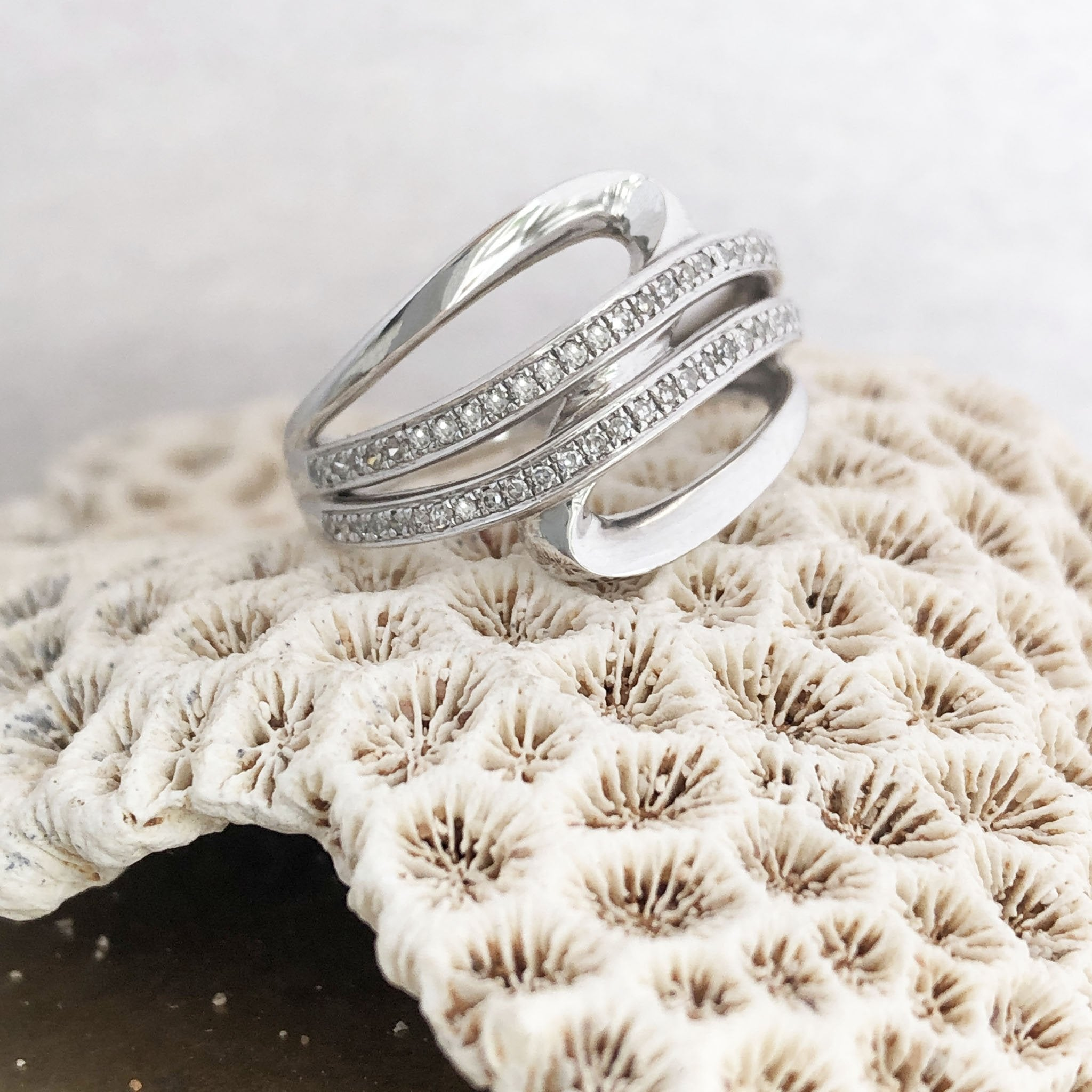Diamond Wave Split Shank Statement Ring
