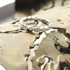 Milgrain Marquise and Dot Diamond Full Eternity Wedding Band